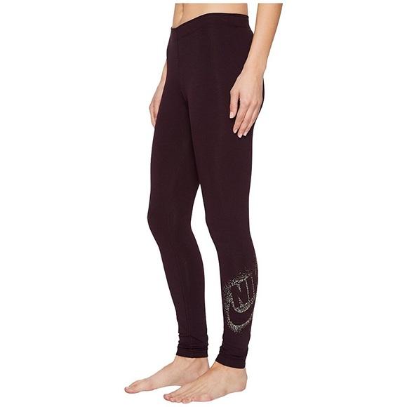 a86822a3707fef Nike Pants | Metallic Leggings Maroon | Poshmark
